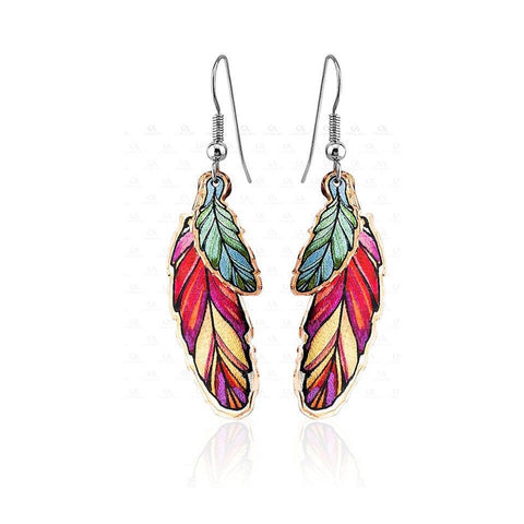 Copper Red & Green Feather Earrings Ym-108