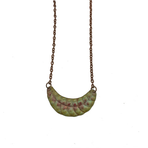 Copper Patina Necklace - Long Leaf