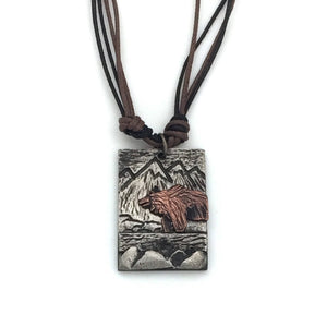 Pewter Necklace - Bear with Mountains