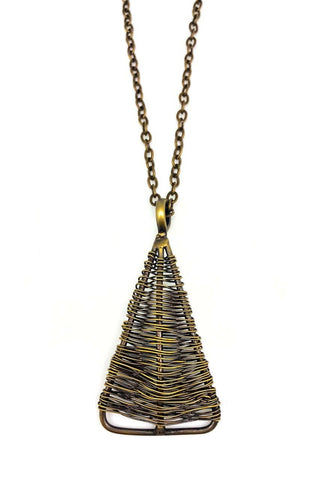 Basketweave Woven Triangle Pendant Necklace