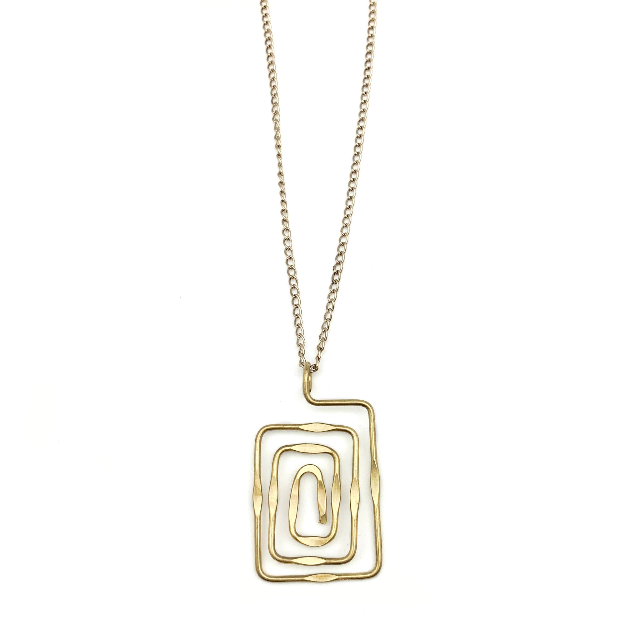 Gold Plated Pendant Necklace - Rectangular Spiral