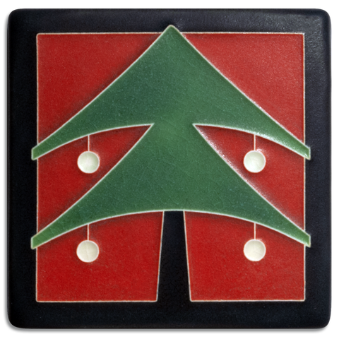 4x4 Christmas Tree Red - Motawi Tileworks