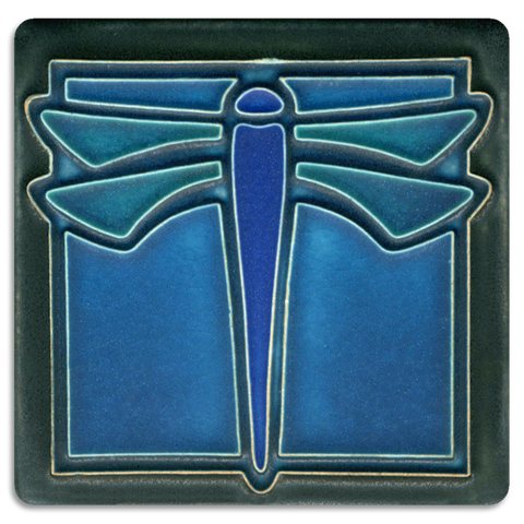 4x4 Dragonfly Turquoise - Motawi Tileworks