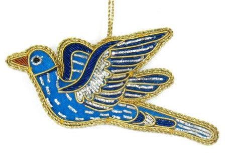 Embroidered Dove Ornament