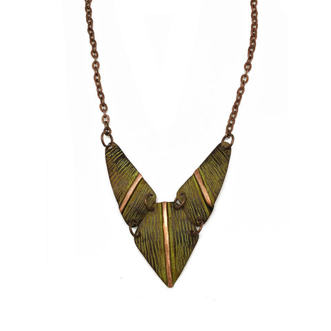 Copper Patina Necklace - Chartreuse Hatchmark Print