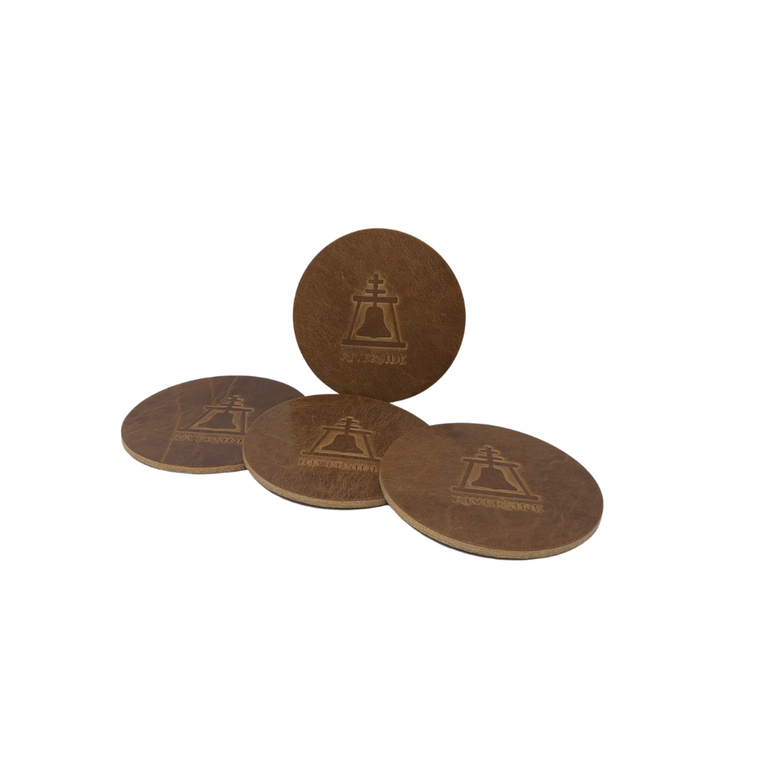 Leather Coasters w/Raincross, sold in set of 4