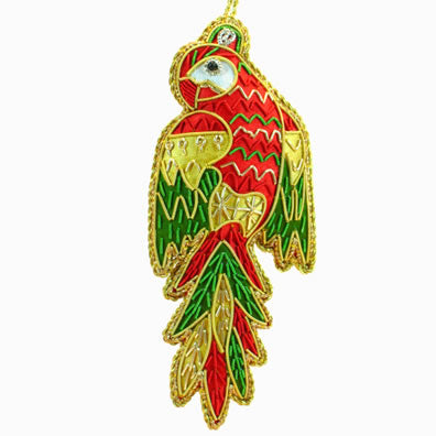 Embroidered Macaw Ornament