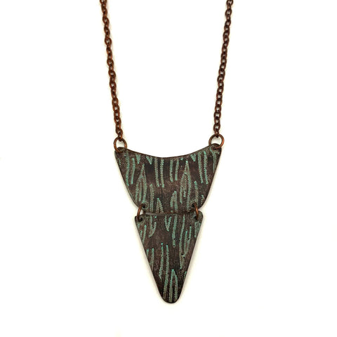 Copper Patina Necklace - Teal and Brown Texture