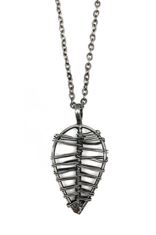 Basketweave Woven Leaf Pendant Necklace