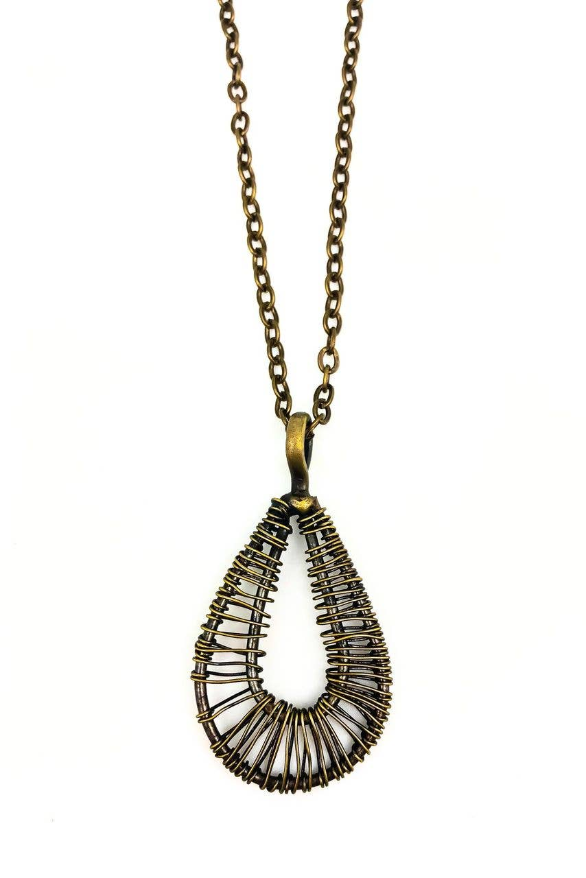 Basketweave Teardrop Antique Brass Pendant Necklace