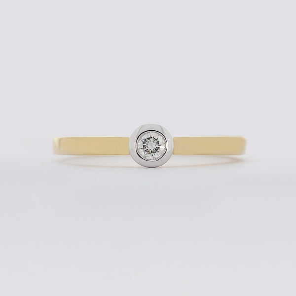 Brillant Damen Ring 18 Kt 750/- Bicolor Solitär