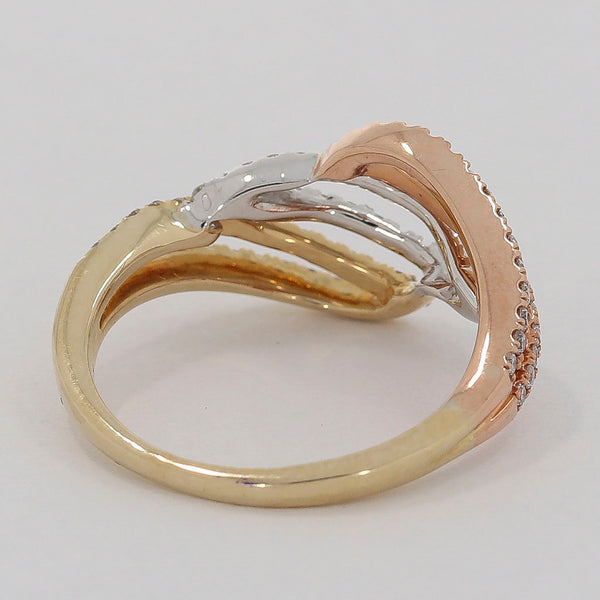 Brillant Damen Ring 14 Kt 585/- Tricolor