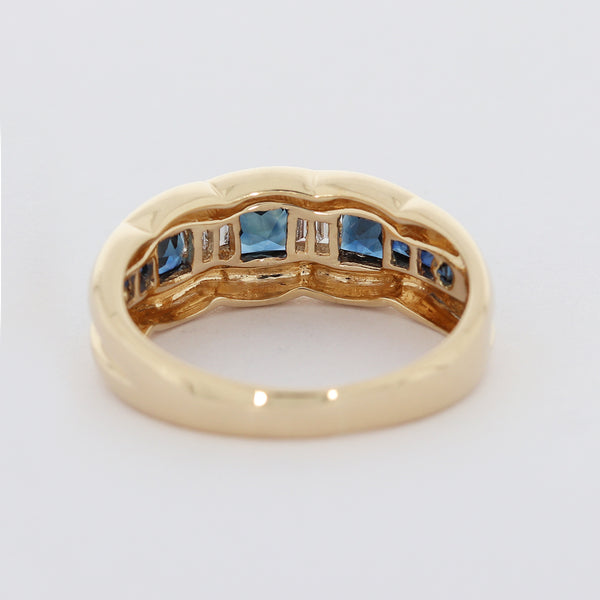 Diamant Damen Ring in 14 Kt 585/-  Gelbgold Saphir Vintage