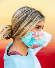 Load image into Gallery viewer, Pura Vida - FACE MASK for adults - ocean hibiscus