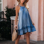 Sleeveless Halter Denim Tank Dress - Ufumbuzi - Home