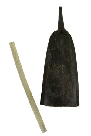 African Alo Bell with Stick - Iron Cow Bell - Large and Low
