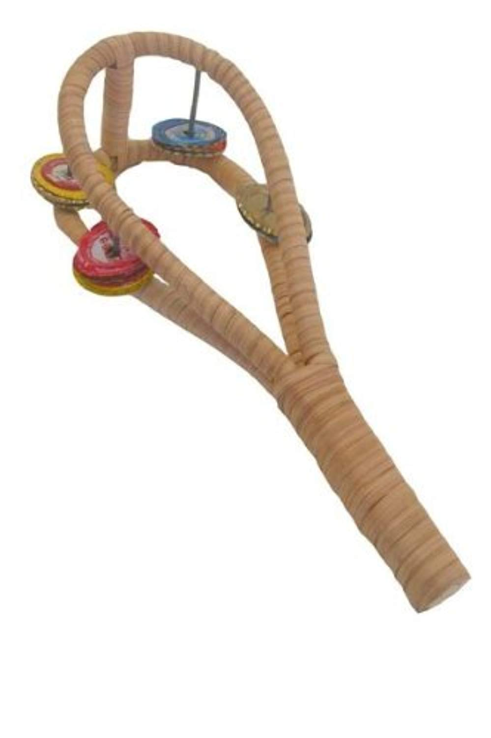 African Bottle Cap Tambourine, Double Sistrum Shaker Rattle