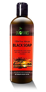 Organic African Black Soap - Raw Organic Soap Ideal for Acne, Eczema, Dry Skin, Psoriasis, Scar Removal, Face & Body Wash, Authentic Liquid Black Soap From Ghana (8oz) with Cocoa , Shea Butter... - Ufumbuzi - Home