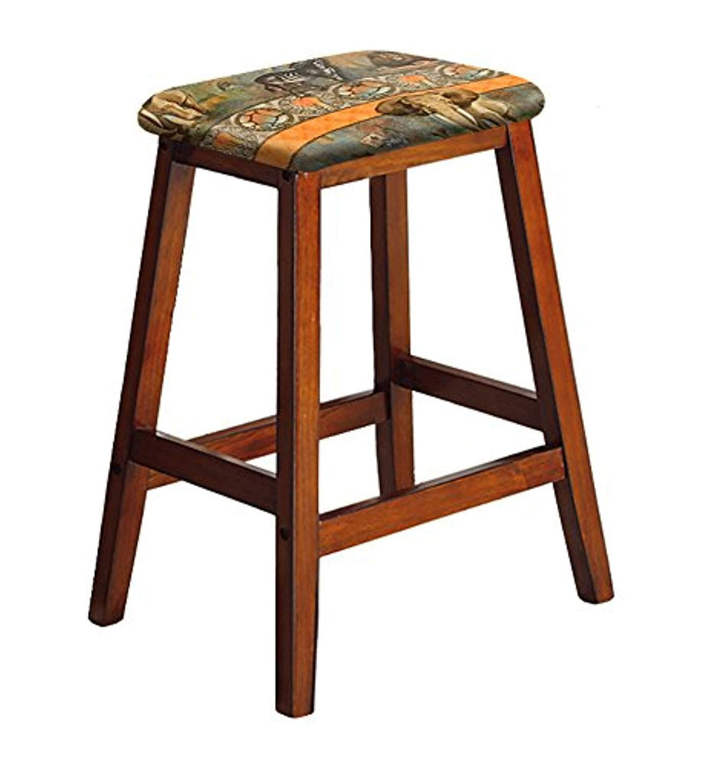 "1-27"" Tall Wood Saddle Bar Stool in an Oak Finish Featuring Your Choice of a Novelty Theme Fabric Covered Padded Seat Cushion (African) - Ufumbuzi - Home"