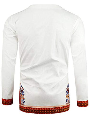 African Style Printed Long Sleeve Top T-Shirt Round Neck Mens Shirt Dashiki