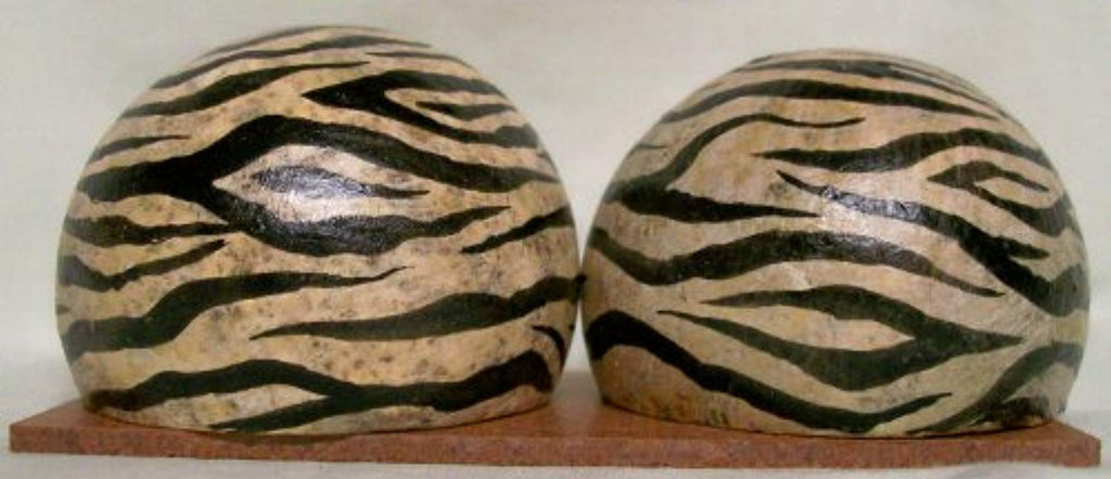 Authentic African Art Zebra Pattern Monkey Apple Salt & Pepper Shakers