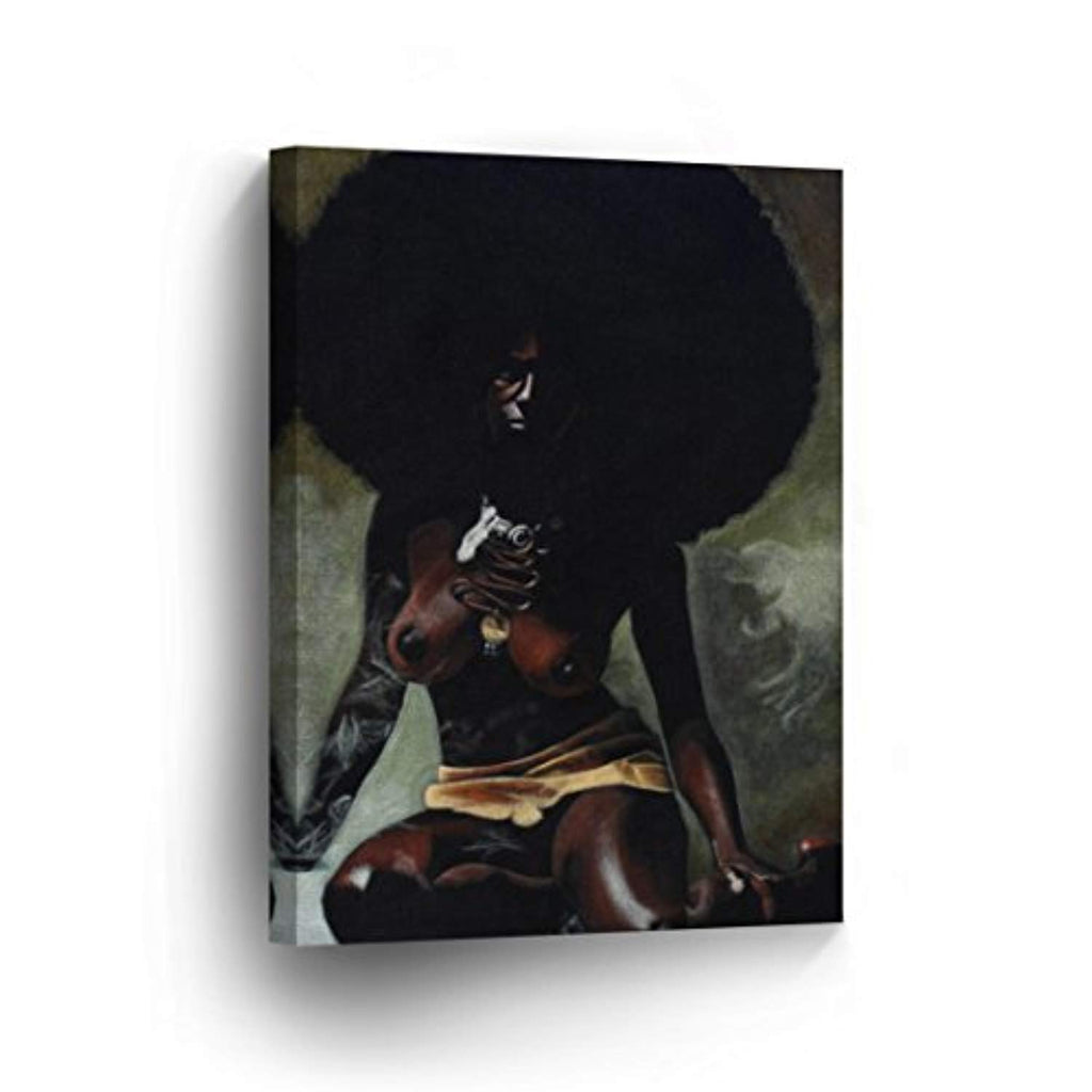 A Nude African Woman with Curly Hairs CANVAS PRINT Decorative Art Wall Decor Artwork Wrapped Wood Stretcher Bars - Ready To Hang %100 Handmade in the USA - AfricanV42