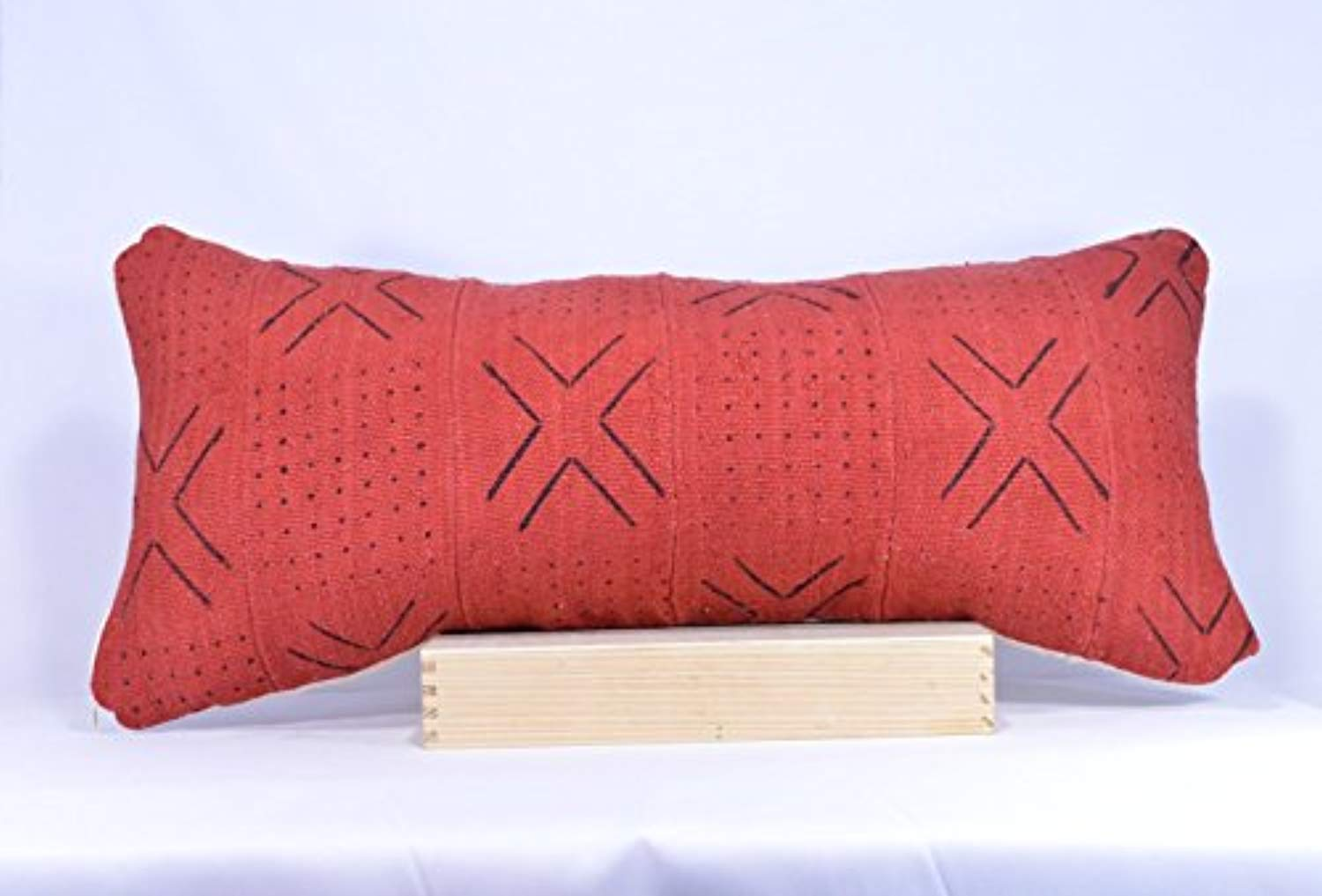 12x26 Lumbar - Red African Mud cloth Pillow Cover; Bogolanfini Decorative Pillow, Black & White Mudcloth Throw Pillow from Mali -BF1002a