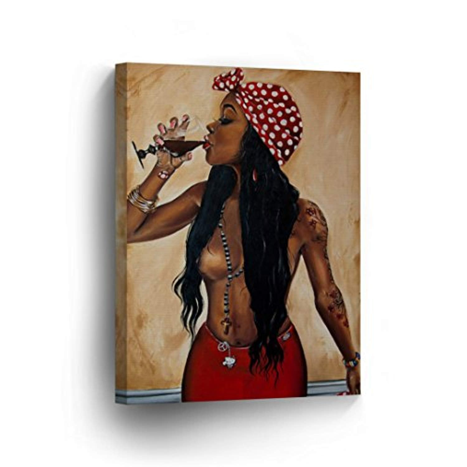 Half Nude Hot African Woman is Drinking a Glass of Wine Oil Painting CANVAS PRINT Decorative Art Wall Decor Artwork Wrapped Wood Stretcher Bars - Ready To Hang %100 Handmade in the USA - AfricanV47 - Ufumbuzi - Home