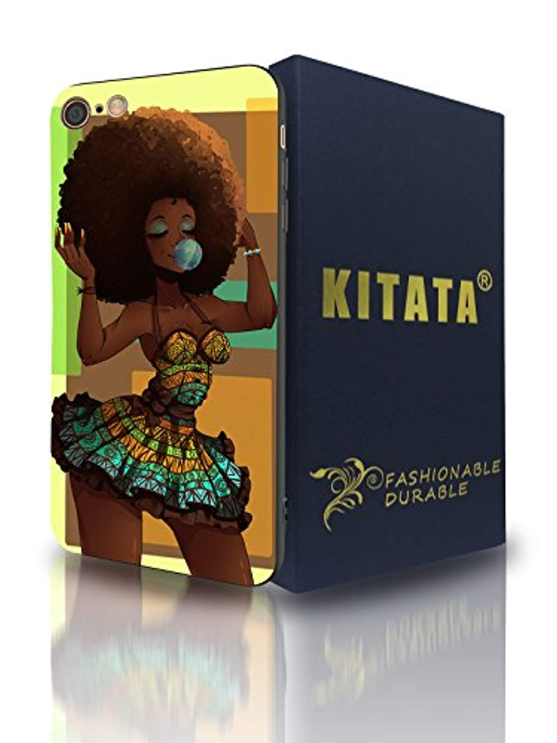 Afro African American Girl iPhone 7 8 Case Afric Women Vintage Beautiful Art iPhone7 iPhone8 Cover Drawing Painting Black Love Design - KITATA
