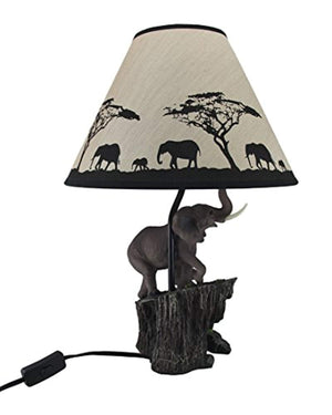 Resin Table Lamps Elephants On Expedition Sculptural Table Lamp W/Decorative Shade 7.5 X 18.5 X 6 Inches Multicolored - Ufumbuzi - Home