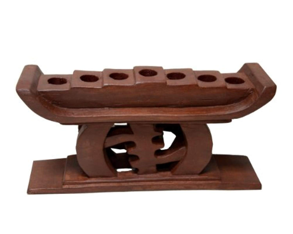 African Heritage Collection Kwanzaa Gye Nyame Candleholder (Brown) - Made in Ghana