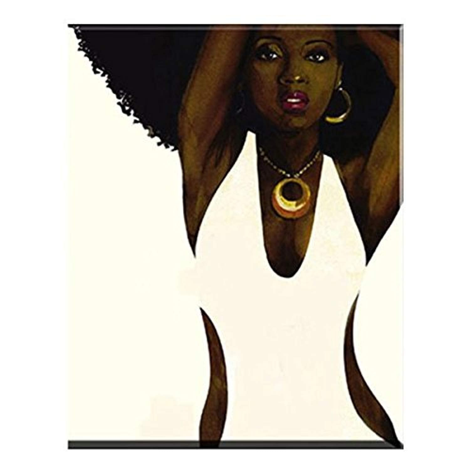 Faicai Art Black and White Wall Art African Afro Sexy Woman Oil Paintings Hand Painted Abstract Portrait Canvas Paintings Home Decor Art Work Pictures for Living Room Bedroom Wooden Framed 20x24 inch - Ufumbuzi - Home