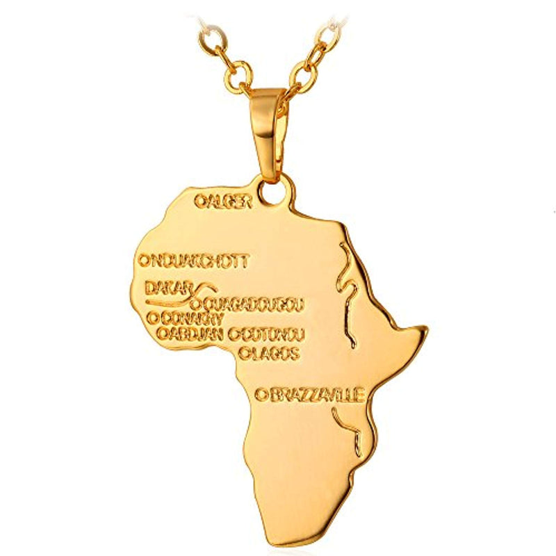 "U7 Hip Hop Jewelry 22"" Long Chain Platinum/Rose Gold/Black Gun/18K Gold Plated African Map Pendant Necklace - Ufumbuzi - Home"
