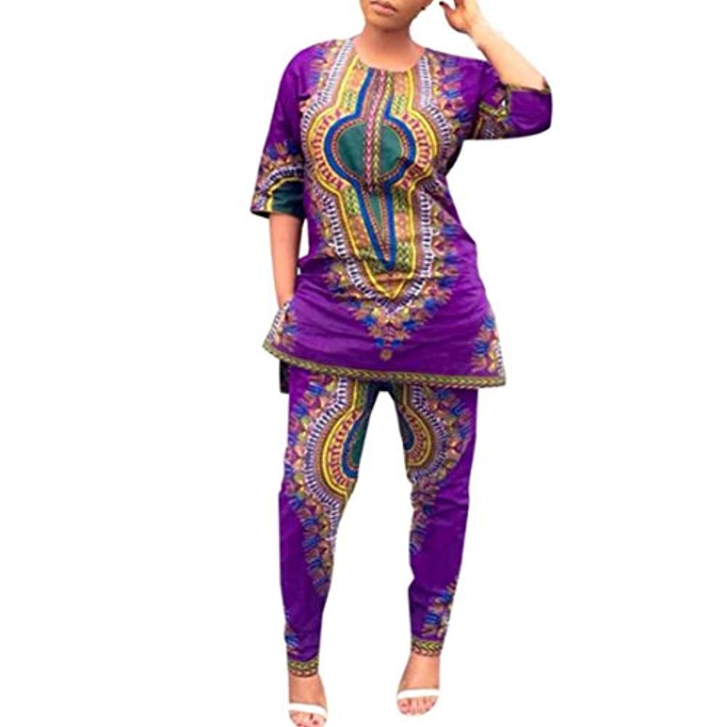 Sexyp-dress Women Dress,Sexyp Fashion African Print Casual Straight Print Dress Tops+Pants - Ufumbuzi - Home