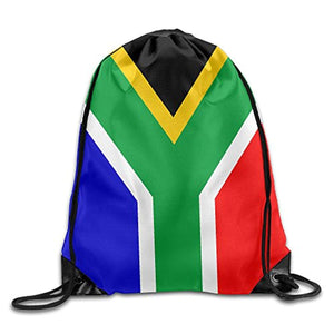 Bahuluo Drawstring Backpack Portable Casual Daypacks Gym Bag, South African Flag