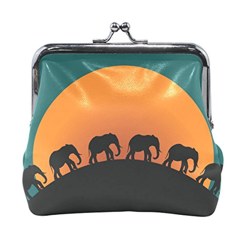 DEYYA Women's PU Leather African Animal Elephant Sunset Coin Purse Mini Clutch Pouch Wallet - Ufumbuzi - Home