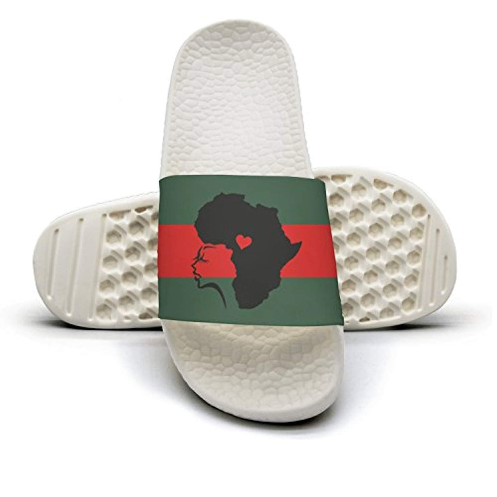 African Woman Hair Love Man Red And Green Stripe Flat Slipper Sandals Summer Sandals Slides - Ufumbuzi - Home