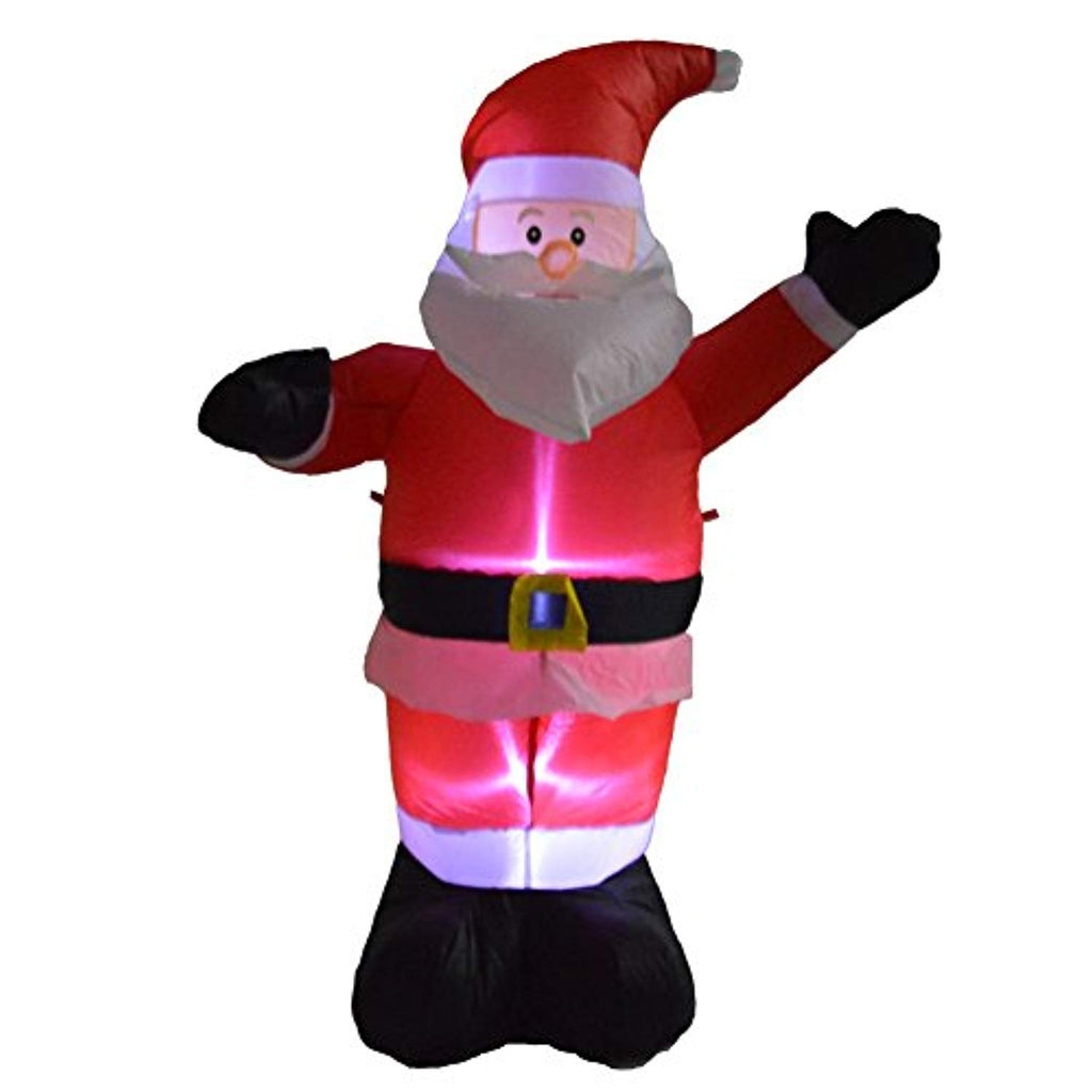 Christmas Inflatable Black Hand Santa Claus with LED Light and Inner Air Blower(4 feet Height) for Home or Garden Decoration