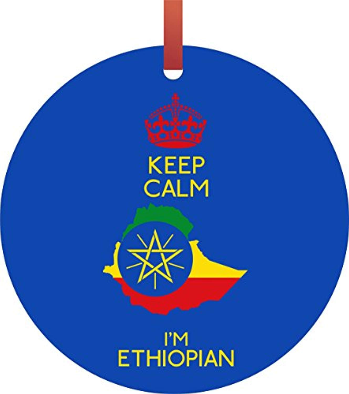 Keep Calm I'm Ethiopian - Jacks Outlet TM Flat Round-Shaped Double-Sided Aluminum Hanging Holiday Tree Ornament Made in the U.S.A. - Ufumbuzi - Home