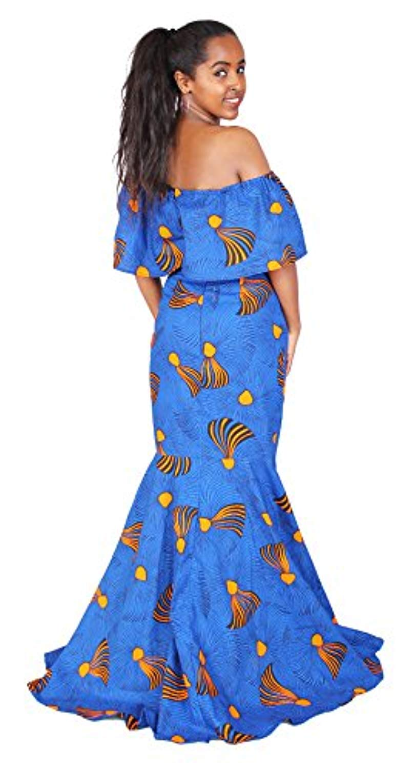 FANS FACE African Printed Women Vintage Ruffles Tube Mermaid Maxi Party Dress Evening Gown