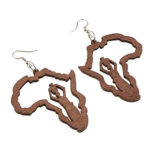 Homyl Trendy African American Woman Earrings Wooden Natural Earrings Accessories - Ufumbuzi - Home