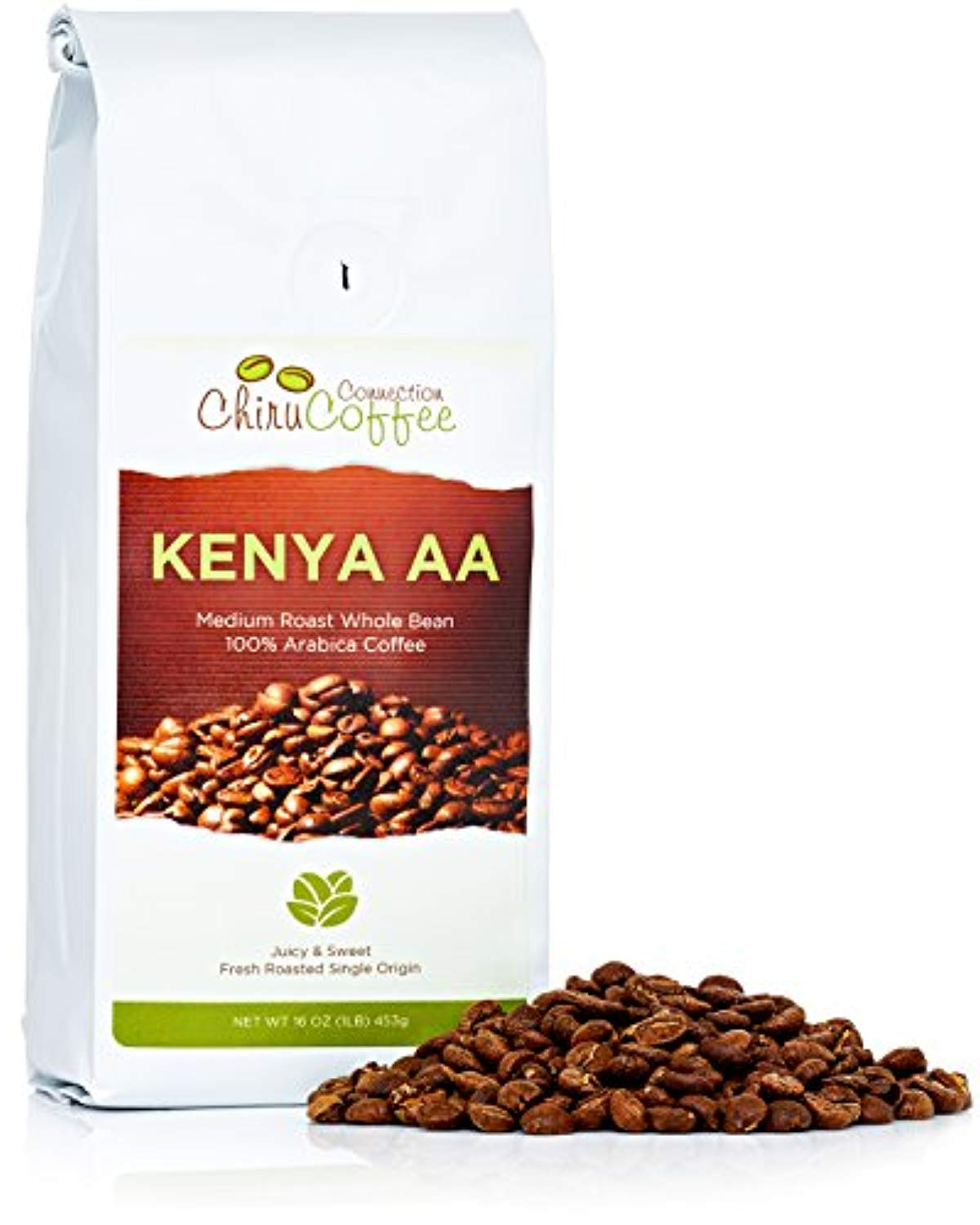 Chiru Coffee Connection Fresh Roasted Kenya's Finest AA Roasted Whole Bean Arabica Coffee, 16 oz, Bag 1 lb - Ufumbuzi - Home