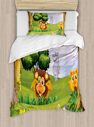 Ambesonne Zoo Duvet Cover Set Queen Size, Animals in the Forest Cartoon Illustration African Safari Jungle Ecosystem Greenery, Decorative 3 Piece Bedding Set with 2 Pillow Shams, Multicolor