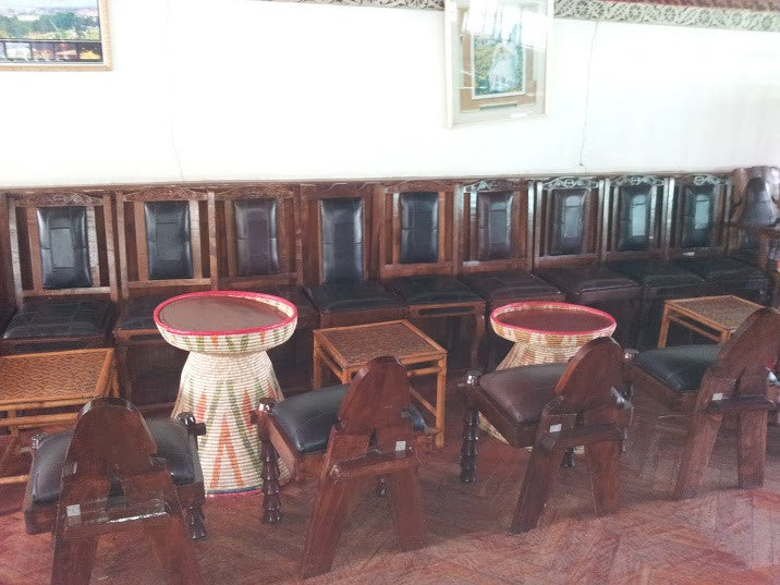 Ethiopian Hand Carved Chairs & Mesob