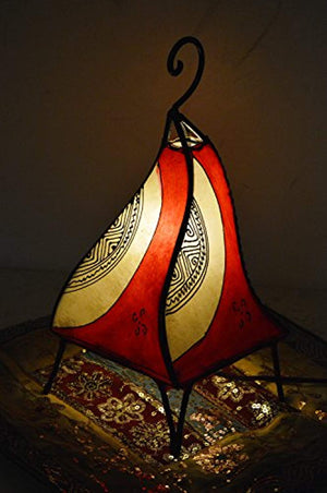 Henna Lamps & Sconces Moroccan Hand made Leather lamp henna tattoo African Red Beige - Ufumbuzi - Home