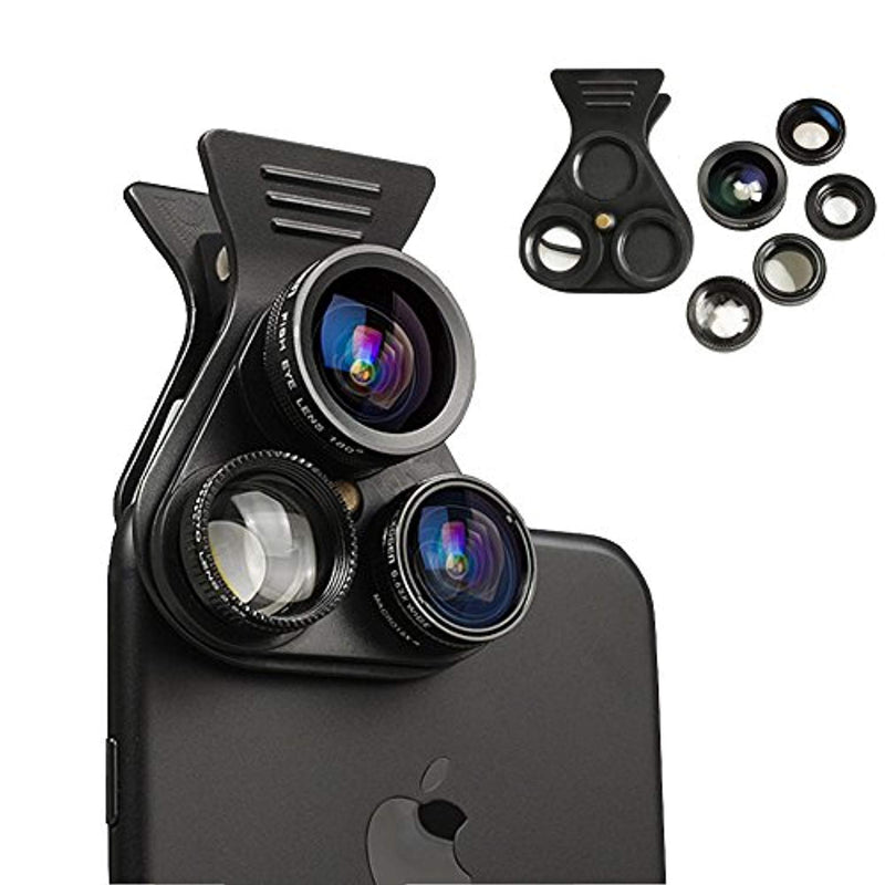 Cell Phone Camera Lens - BTIME 5 in 1 Professional HD Camera Lens Kit 2.5X Telephoto Lens +180° Fisheye + 0.62X Wide Angle + 15X Macro Lens +CPL Polarized Lens - Ufumbuzi - Home