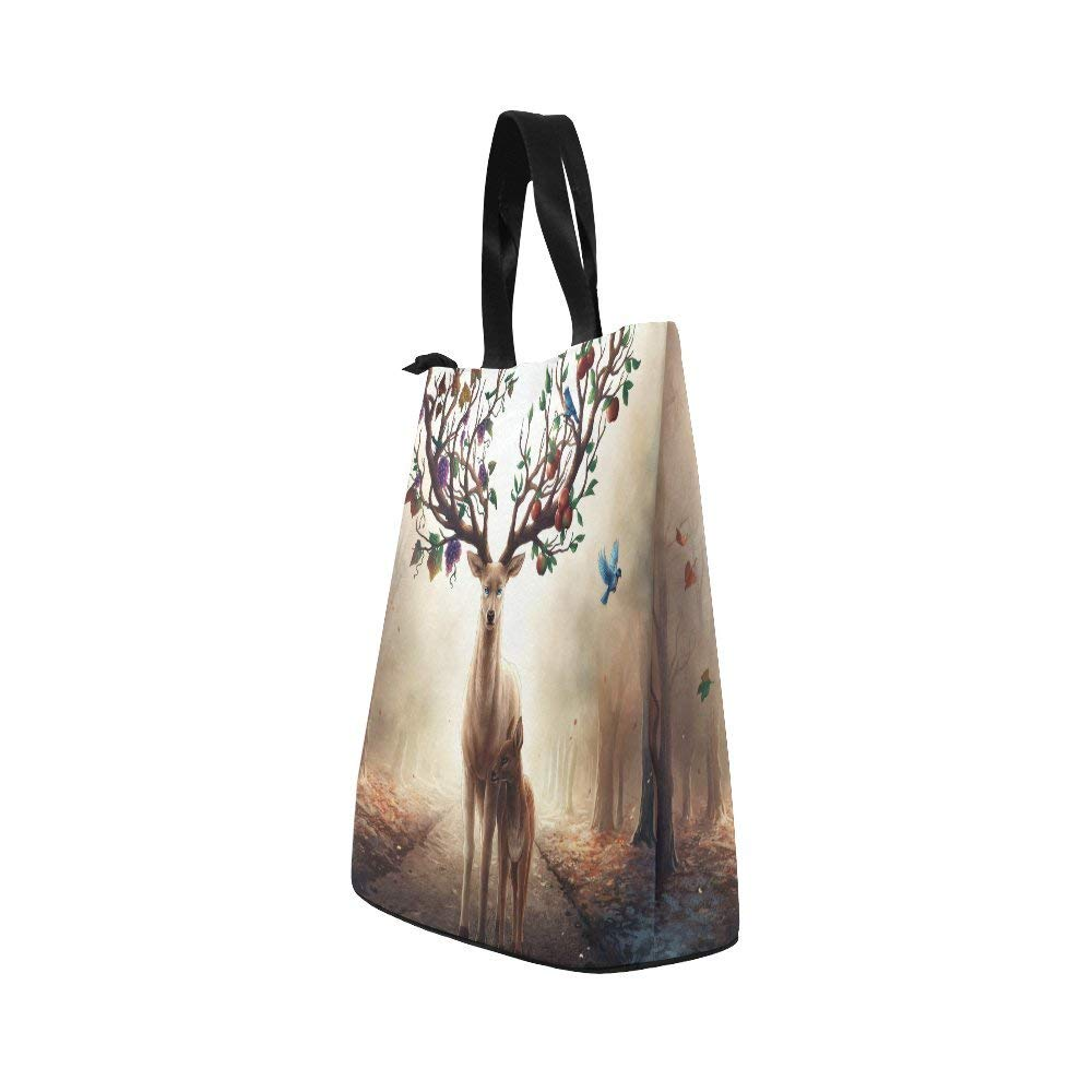 InterestPrint Beautiful African American Woman Nylon Cylinder Lunch Bag Tote Shopping Handbag, African Spirit Reusable Large Lunchbox Grocery Bag - Ufumbuzi - Home