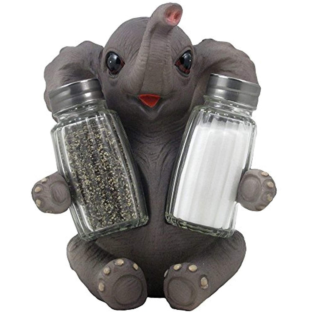 Decorative Lucky Baby Elephant Salt and Pepper Shaker Set with Holder Figurine for African Jungle Safari Kitchen Decor Statuettes & Sculptures Featuring Zoo Animals As Unique Collectible Gifts by Home-n-Gifts