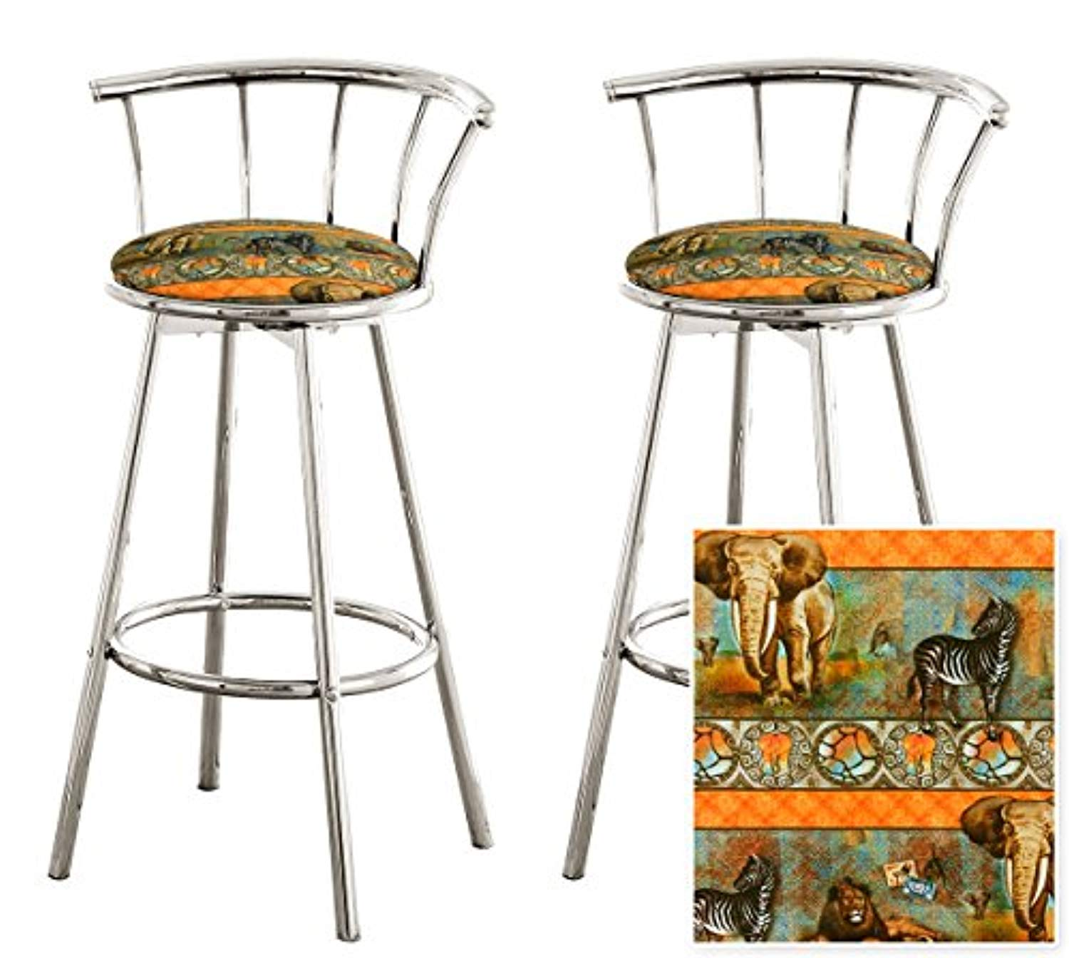 2 African - Serengeti Specialty / Custom Chrome Barstools with Backrest Set