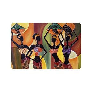 "23.6""(L) x 15.7""(W),3/16"" thickness, Oil Painting Art African Woman Machine-washable Doormat Mat"